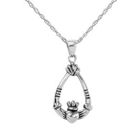 Celtic Claddagh Silver Teardrop Pendant 9244